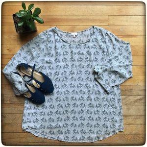 Pixley Ellie elephant blouse, grey, flowy top